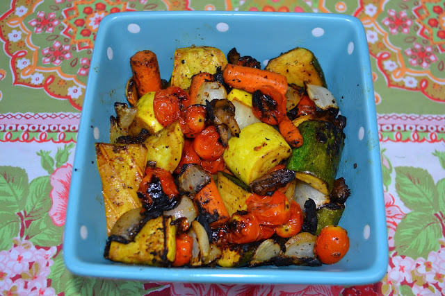 balsamic roasted vegetables  - carrots, onions, zucchini, squash