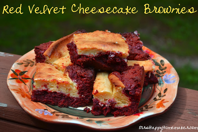 Red Velvet Cheesecake Brownies on a plate