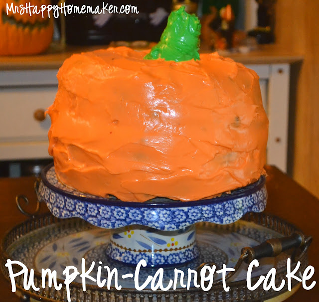 pumpkin carrot cake, shaped and frosted like a pumpkin