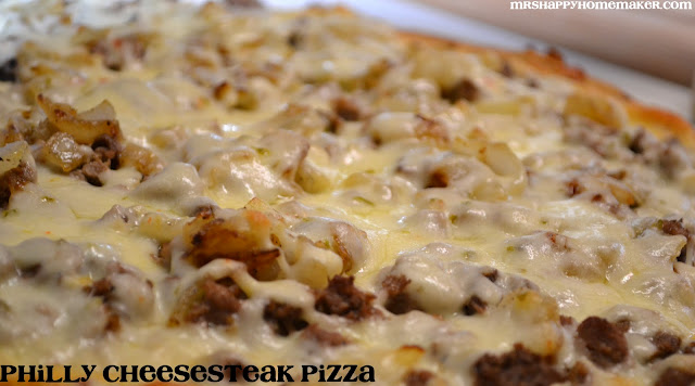 Philly cheesesteak pizza closeup
