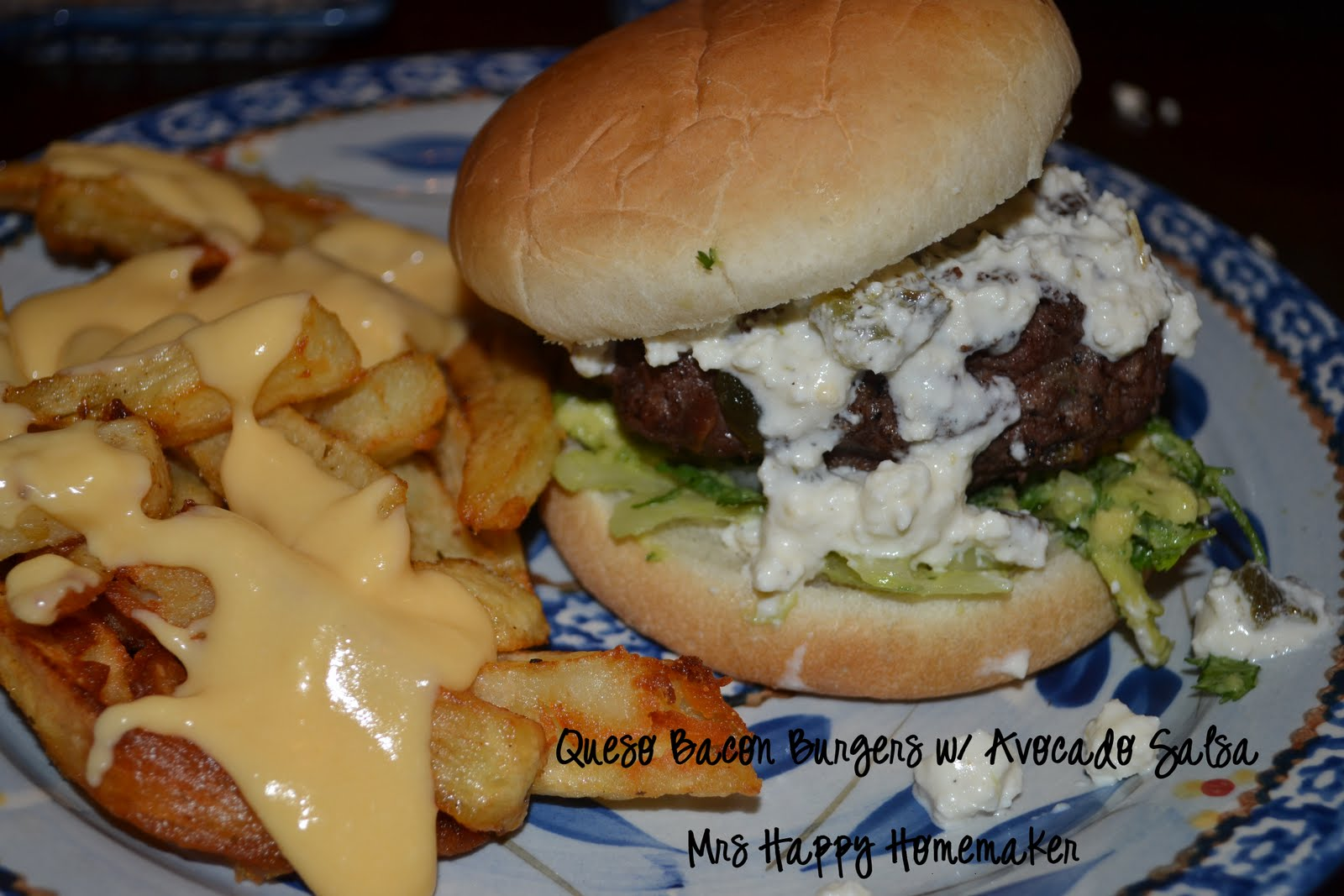 Queso Bacon Burgers with Avocado Salsa - Mrs Happy Homemaker