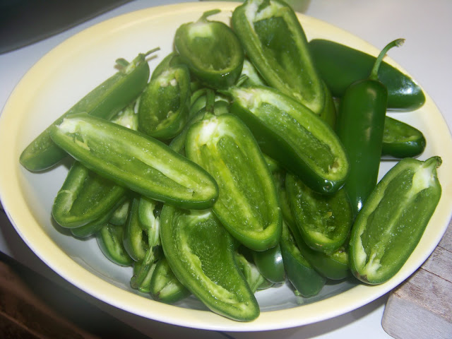 halved jalapeno peppers