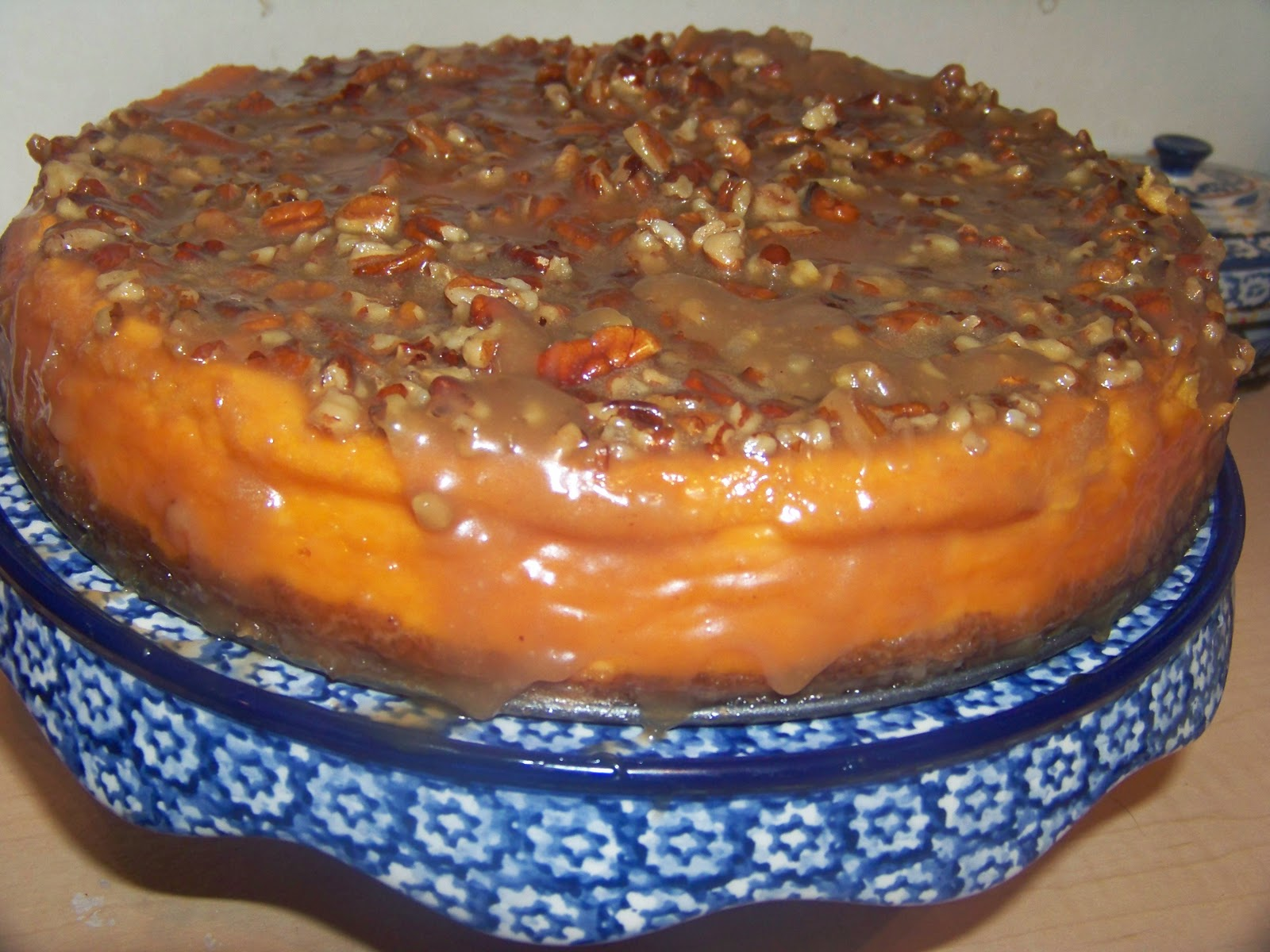 Sweet Potato Cheesecake with Caramel Pecan Glaze